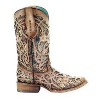 Corral Brown Bone Multicolor Inlay and Studs Square Toe Womens Boots C3405