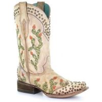 Corral Bone Women's Saddle Nopal Embroidered & Studded Cowboy Boot C3447