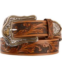 C41514  Leather Tooled Westerly Ride 1 1/2inch Wide Western Mens Belts