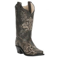 Old West Girls Vintage Charcoal Snip Toe with Embroidery Western Boot CF8222