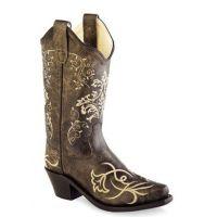 Old West Youth Vintage Tan Snip Toe Western Boots CF8222Y