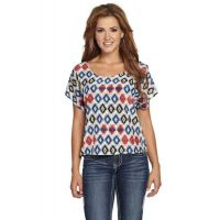 CG505-05 Polyester Short Sleeve Tribal Print Womens Cowgirl Up Shirt