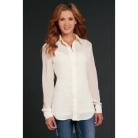 Sidran Cowgirl Up Cream Long Sleeve Chiffon Button Down Womens Shirt CG60106