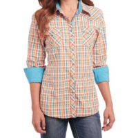 Cowgirl Up by Sidran Orange/Blue Long Sleeve Heavy Enzyme Wash Woven Womens Shirt CG80102