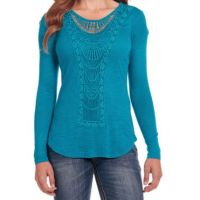 Cowgirl Up by Sidran Teal Long Sleeve Slub Womens Top with Front Applique CG80207