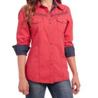 Cowgirl Up by Sidran Red Long Sleeve Heavy Enzyme Wash Woven Womens Shirt CG80401