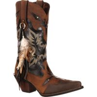 DRD0065 Brown Black Feather Durango Womens Western Cowgirl Boots