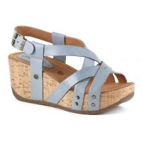 Bussola Natural Vitello Jeans Fabia Womens Adjustable Back Wedge Sandals FABIA