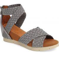 Bernie Mev Pewter Honesty Fabric Womens Comfort Wedge Sandals HONESTY
