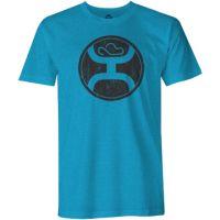 Hooey Turquoise Heather Crew Neck Mens Tee Shirt HT1242
