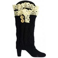 J-04 Black Knit 2 Button and Lace Boot Socks
