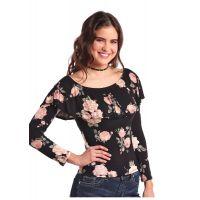 Panhandle Slim Floral Print Long Sleeve Flounce Neckline Shirt J9-8130
