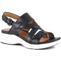 Bussola Jenny Black Dakota Slingback Wedge Comfort Womens Sandals