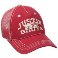 JSM104 Red Justin Boots Mens Mesh Back Ball Cap