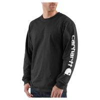K231 Black Carhartt Men's Signature Sleeve Graphic Long-Sleeve T-Shirt