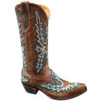 L2022-1 Sharon Heavy Stitch Brass Color Old Gringo Ladies Boots