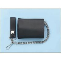 LW-2 Black Plain Leather Trifold with Chain