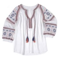 Wrangler White/Turqipose/Orange Long Sleeve Womens Peasant Top LW2050M