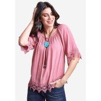 Wrangler Mauve Pink Womens Short Sleeve Crochet Trimmed Peasant Blouse LW5006P