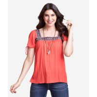 Wrangler Tangerine Womens Short Sleeve Square Neck Top LWK515M
