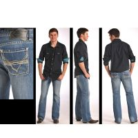 M0P5514 Embroidered Pistol Boot Cut Mens Rock & Roll Jeans