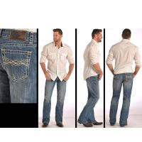 Relaxed Fit Double Barrel Straight Leg Mens Rock & Roll Cowboy Jeans