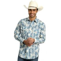 Wrangler Blue/Ivory Checotah Long Sleeve Veritcal Print Mens Long Sleeve Snap Shirt MC1243B