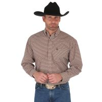 Wrangler George Strait Brown/Black Long Sleeve Buttondown Mens Western Shirt MGSE506