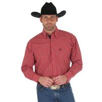 Wrangler George Strait Red/Black Long Sleeve Buttondown Mens Western Shirt MGSR533