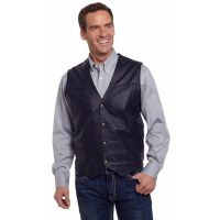 ML1059-41 Black Snap Front  Boar Nappa Leather Western Mens Vests