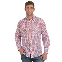 Wrangler Blue/Orange Fashion Snap Long Sleeve Mens Western Shirt MVG212M