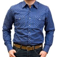 Wrangler by VF Jeanswear Blue Retro Plaid Western Mens Shirt MVR350M