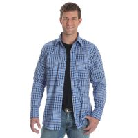 Wrangler Wrinkle Resist Blue Long Sleeve Plaid Mens Shirt MWR253M