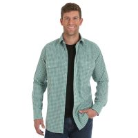 Wrangler Green Wrinkle Resist Mens Long Sleeve Snap Western Shirt MWR266M