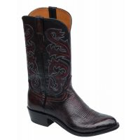 Lucchese Ostrich Black Cherry Mens Exotic Western Boots N1149.R4