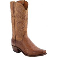 Lucchese Nathan Burnished Barnwood Smooth Ostrich Mens Snip Toe Boots N1160.74