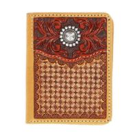 Nocona Western Bifold Stamped Leather Brown Mens Wallet N5469648