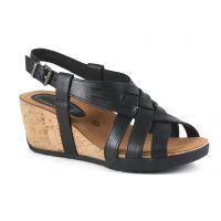 Bussola Gobba Black NYNETTE Adjustable Back Womens Wedge Sandals NYNETTE