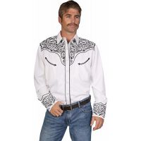 P-815 White w/Black Embroidery Long Sleeve Western Scully Mens Shirts