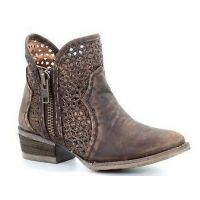Corral Brown Cutout Shortie Womens Boots Q5019
