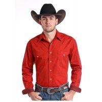 Panhandle Slim Red Honore Vintage Mens Long Sleeve Snap Western Shirt R0S7574
