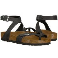 Birkenstock Black Oiled Leather Yara Womens Casual Sandals R1011442