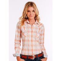 Panhandle Slim Orange/White Long Sleeve Snap Womens Western Shirt