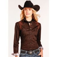 Panhandle Slim Chocolate Artena Vintage Print Womens Long Sleeve Snap Shirt R4S3006