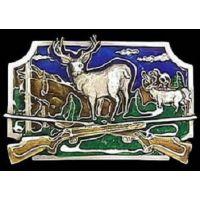 S10E Deer Hunting With Crossed Guns Siskiyou Belt Buckles