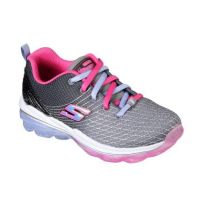 Skechers Air Deluxe Grey/Pink Fabric Kids Running 81195L-CCMT