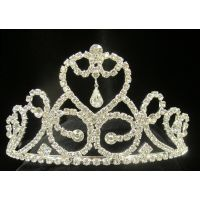T-20173 Heart Tiara with Dangles and Curls