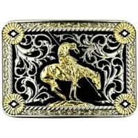 TBB4621 Two-Tone Rectangle End Of The Trail Western Edge Belt Buckles