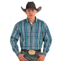 Turquoise Long Sleeve Button Down Mens Panhandle Slim Western Shirt