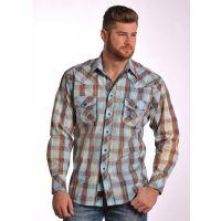 V6S4825 Plaid Long Sleeve Snap Mens Western Panhandle Slim Shirt
